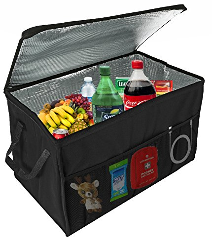 Insulated Car Console Organizer By Lebogner - X-Large Vacation Trunk Cooler Box For Hot Or Cold Food While Traveling, Collapsible Travel Or Shopping Carry Basket, Outdoor Picnic Bag For - Time Travel Picnic Accessories