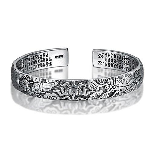 Beydodo Mens Silver Bracelets 925 Sterling Silver Chain Bracelet Biker Dragon and Phoenix Cuff Bangle Sutra 60mm ()