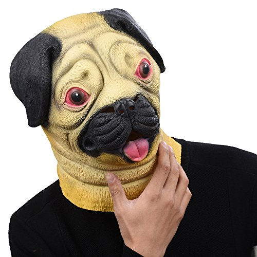 Costume Pug Party (PARTY STORY Pug Dog Latex Animal Head Mask Novelty Halloween Costume Rubber)