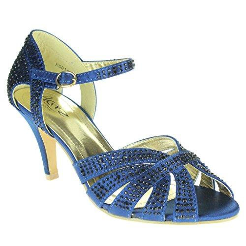 Nupcial tobillo Zapatos Noche Señoras Diamante Peep Fiesta Sandalias marino de Boda Paseo alto Tacón Azul Correa Toe Mujer Tamaño 1Y4qzZPq