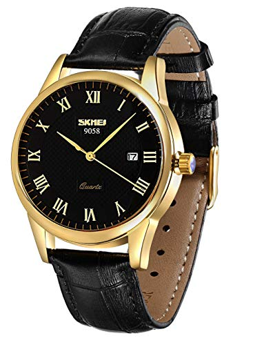 Mens Quartz Watch, Roman Numeral Business Casual Fashion Analog Wrist Watch Classic Calendar Date Window, Waterproof 30M Water Resistant Comfortable PU Leather Watches (Black)