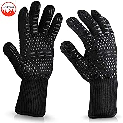 Le Home Bbq Gloves 1472℉ Extreme Heat Resistant Gloves Cooking Mitts Baking Grill Oven Industrial Fireproof Cut Resistant Gloves Black