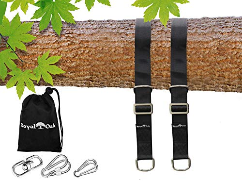 EASY HANG (4FT) ADJUSTABLE TREE SWING STRAP X2 - Holds 4400lbs. - Heavy Duty Carabiner - Bonus Spinner - Perfect for Tire and Saucer Swings - Waterproof - Picture Instructions - Carry Bag Included