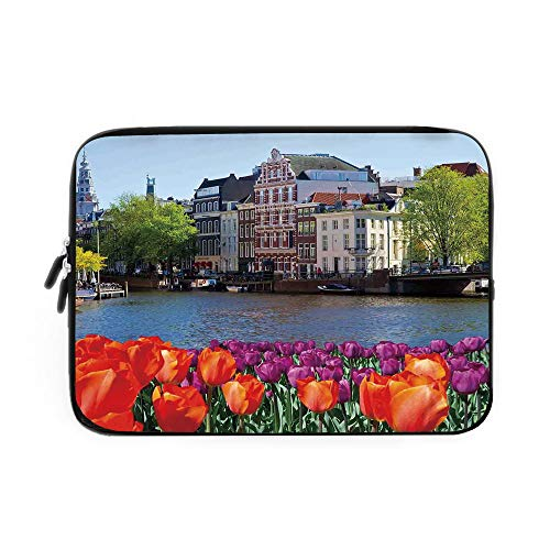 Landscape Laptop Sleeve Bag,Neoprene Sleeve Case/European City Holland Amsterdam Scenery of Old Victorian Era Houses Art Print/for Apple MacBook Air Samsung Google Acer HP DELL Lenovo AsusMul