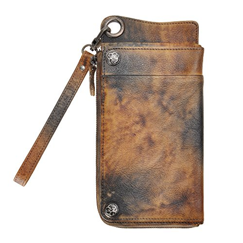 Leather Wallet Holder Long Vintage dye Wristlet Card Clutch Fire ZLYC Handmade with Dip Detachable SWRqc0ap