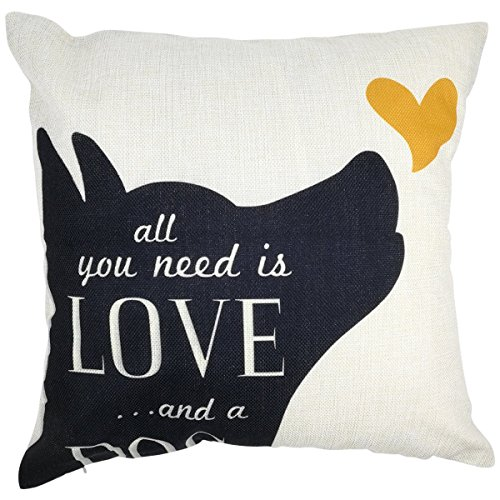 Arundeal All You Need is Love and A Dog 18 x 18 Inch Cotton Linen Square Throw Pillow Cover, Black Puppy