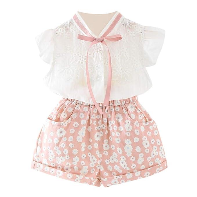 70e1514db275 Las Camisetas de Las niñas de Desgaste de los niños pequeños + Flor Cortos  2PCS Conjunto  Amazon.es  Ropa y accesorios