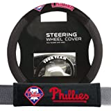 Fremont Die FMT-63122 Philadelphia Phillies MLB Steering Wheel Cover and Seatbelt Pad Auto Deluxe Kit - 2 Pc Set