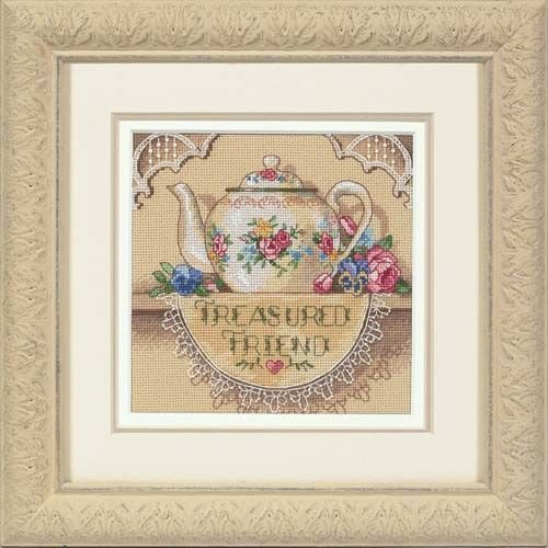 Dimensions Gold Collection Counted Cross Stitch Kit, Treasured Friend Teapot, 18 Count Beige Aida, 6'' x 6''