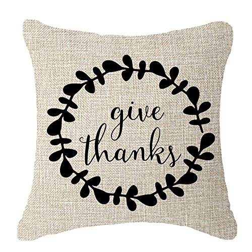 Thanksgiving family friends gifts Thanksgiving give thanks Fruits Leaves wreath Throw Pillow Cover Cushion Case Cotton Linen Material Decorative 18