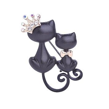 ulaky negro madre hija gatos broches cristal anillos Corona Reina Pin disfraz sombreros bufanda broche para mujer ropa hebillas: Amazon.es: Hogar