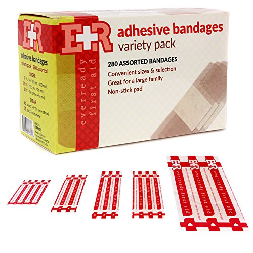 Ever Ready First Aid Quality Adhesive Bandage Variety Pack, 280 Count Adhesive Bandages