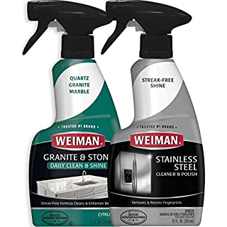 Weiman Stainless Steel & Granite Cleaner - 12 Ounce - for Countertop and Appliance Protect from Fingerprints Granite Cleaner and Polish - Enhance The Natural Beauty of Your Stone Surface - 12 Ounce