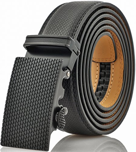 Marino Men's Genuine Leather Ratchet Dress Belt With Automatic Buckle, Enclosed in an Elegant Gift Box - Black - Fits waist sizes up to 44