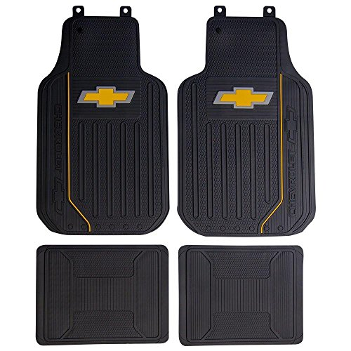 (Plasticolor Chevy Elite Logo 4 Piece Car Truck SUV Front & Rear Rubber Floor Mats Set)