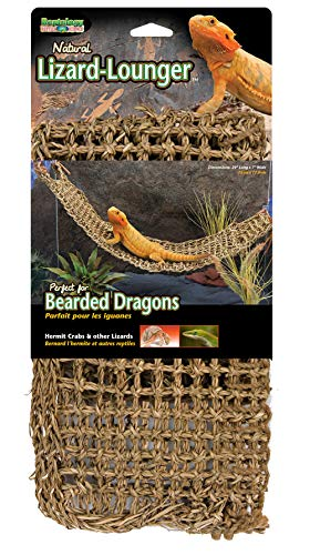 Penn Plax Lizard Lounger, 100% Natural Seagrass Fibers for Anoles, Bearded Dragons, Geckos, Iguanas, and Hermit Crabs Rectangular 7 x 29 -