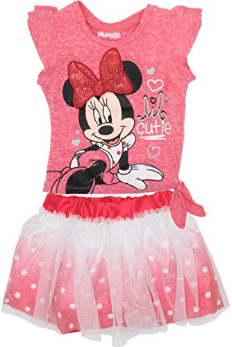 Disney Minnie Mouse Toddler Girls' Fashion T-Shirt and Tulle Skirt Set, Red (4T)