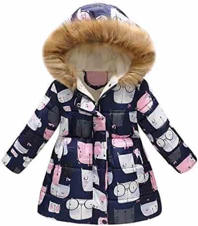 fd93c6e6903 Sameno Toddler Baby Girls Boys Floral Butterfly Winter Warm Hooded Down  Jacket Windproof Coat