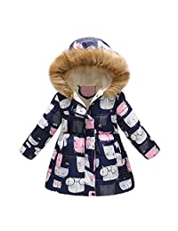 Tenworld B Girl's Winter Coats Cartoon Hooded Outerwear Quilted Padded Puffer Jacket