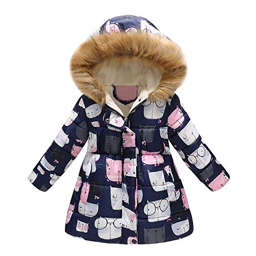 (GoodLock Baby Boys Girls Winter Warm Coats Toddler Floral Butterfly Hooded Windproof Jacket Coat (D,)