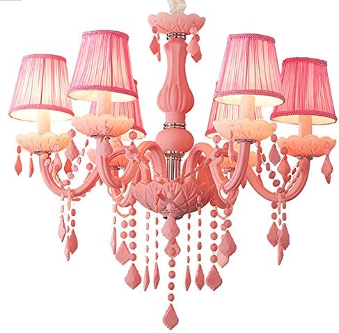 Crystal Chandelier Macaron Pendant Light Creative Ceiling-Lamp Bedroom Candle Chandeliers Pink 8 4 Light