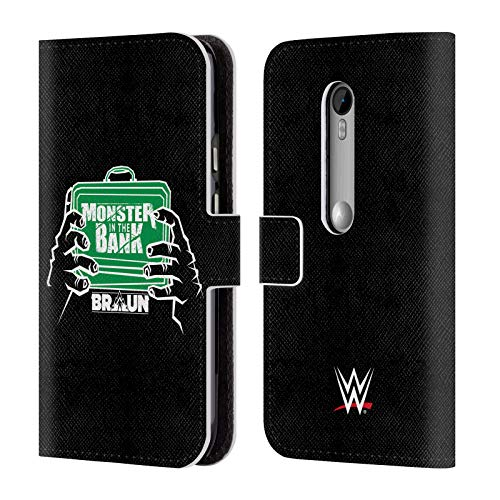 Official WWE Braun Strowman Monster in The Bank 2018/19 Superstars 4 Leather Book Wallet Case Cover for Motorola Moto G (3rd - Monster Moto G Case