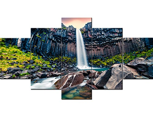 Framed Wall Art Living Room Black Fall Waterfall in Skaftafell, Vatnajokull National Park 5 Panel Canvas Paintings Pictures Home Decor Giclee Modern Artwork Gallery-wrapped Ready to Hang(60''Wx32''H)