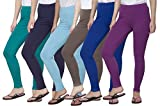 Clifton Women's Cotton Spandex Fine Jersey Leggings Pack Of 6-Assorted-4-XL