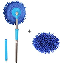 Meirun 360 Degree Spin Wet Mop,Microfiber Chenille Flexible Handle Car Cleaning Mop Plus towel (Blue mop +Blue head)