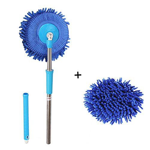 Wash Microfiber Chenille (Meirun 360 Degree Spin Wet Mop,Microfiber Chenille Flexible Handle Car Cleaning Mop Plus towel (Blue mop +Blue head))