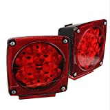 Blackpoolfa 2x 12-LED Submersible Trailer Tail Light | Universal Waterproof Stop Turn Signal Brake Marker Lights -DC 12V Mount Combination for RV Boat Truck Trailer (Pack of 2, Red)
