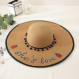 ZRL77y Sun Hats Womens,Women Straw Sun Hat,Letter Embroidery Sombrero,Packable Summer Sun Straw Hat (Color : Beige)