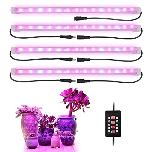 [4-Pcs] 28W LED Grow Light Bars, New Timing On&Off Function, Non-Volatile Memory, 56 LED Chips with Red/Blue Spectrum for Indoor Plants, 9/6/12/15H Timer, 5 Dimmable Levels [AMAZINGCATS] by AMAZINGCATS
