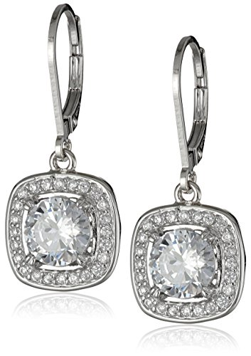 Silver Leverback Cubic Zirconia Earrings - Sterling Silver Cubic Zirconia Halo Set Lever-Back Drop Earrings (2.98 cttw)