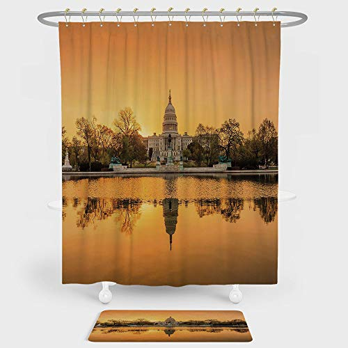 Iprint United States Shower Curtain And Floor Mat Combination Set Washington Dc American Capital City White House Above The Lake Landscape For Decoration And Daily Use Apricot Ginger