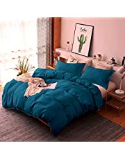 Luxury 1000 Thread Count Certified Egyptian Cotton Oversized King 120x98 Size 5-Piece Duvet Cover Set Zipper Closer & Corner Ties, Breathable & Soft (1 Duvet Cover & 4 Pillow Sham), Teal Blue