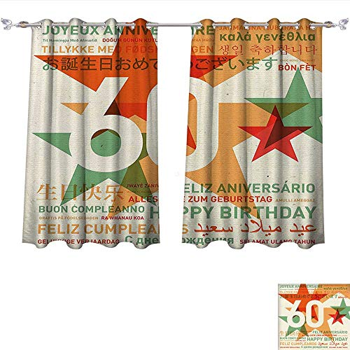 Qinqin-Home Blackout Window Curtain World Cities Birthday Party with Stars Green Vermilion and White Customized Curtains (W72 x L63 -Inch 2 Panels)