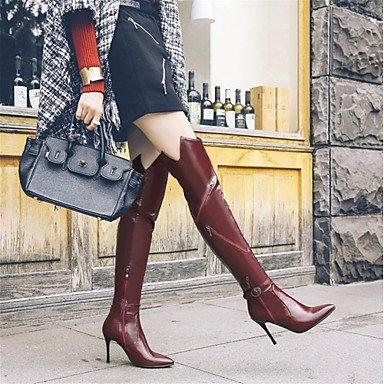 Heart&M Damen Schuhe maßgeschneiderte Werkstoffe Kunstleder Herbst Winter Reitstiefel Modische Stiefel Stiefel Stöckelabsatz Spitze Zehe black
