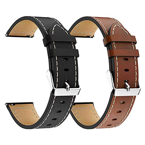 LDFAS Compatible for Fossil Q Band, (2 Pack) 22mm Leather Strap Compatible for Fossil Q Marshal, Wander, Founder Gen 2 / Q Explorist Gen 3 / Q Explorist HR Gen 4, Grant, Commuter, Brown+Black