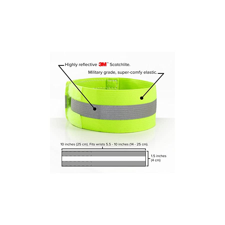 High Visibility Reflective Wristbands (pair) made by Road ID, world leaders in safety Satisfaction Guaranteed (seriously)