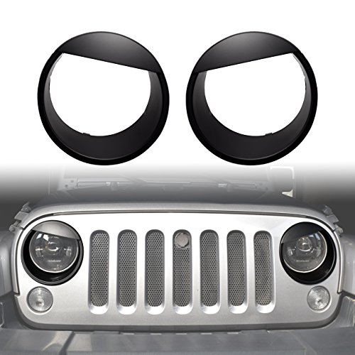 DIYTuning Angry Eyes Front Lights Trim Cover HeadLight Bezels for Jeep Wrangler JK JKU Unlimited Rubicon Sahara Sport Exterior Accessories Parts 2007 2008 2009 2010 2011 2012 2013 2014 2015 2016 2017