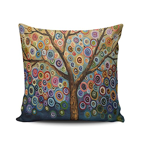 SALLEING Custom Fashion Home Decor Pillowcase Colorful Painting Trees European Square Throw Pillow Cover Cushion Case 26x26 Inches One Sided Print