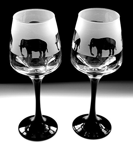 Elephant gift black stem wine glasses Boxed Glass in the forest