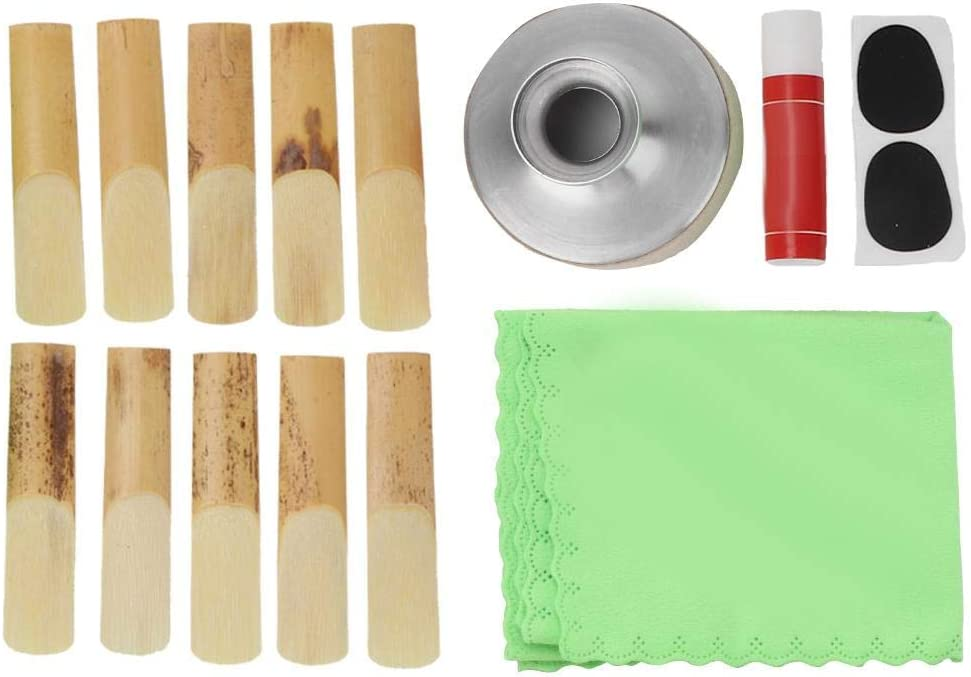 RiToEasysports Alto Saxophone Accessories,Saxophone Mouthpiece Patch Reed Cork Grease Cleaning Cloth Kit,for Saxophone Musical Instrument