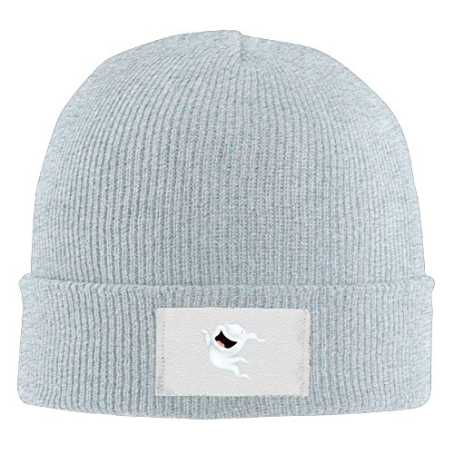 NO4LRM Men Women Happy Ghost Hallowmas Warm Stretchy Knit Wool Beanie Hat Solid Daily Skull Cap Outdoor Winter