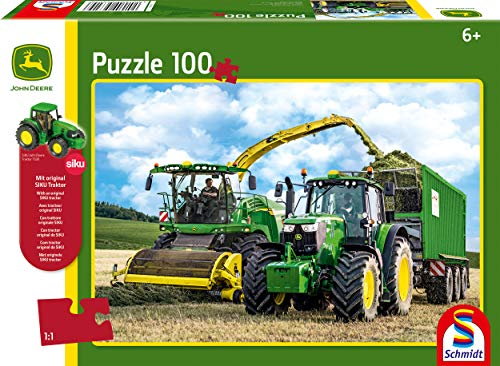 (Schmidt Spiele 56315 John Deere 6195 M and Field Shredder 8500I 100 Piece Jigsaw Puzzle Children's Puzzle with Tractor Siku Colourful )
