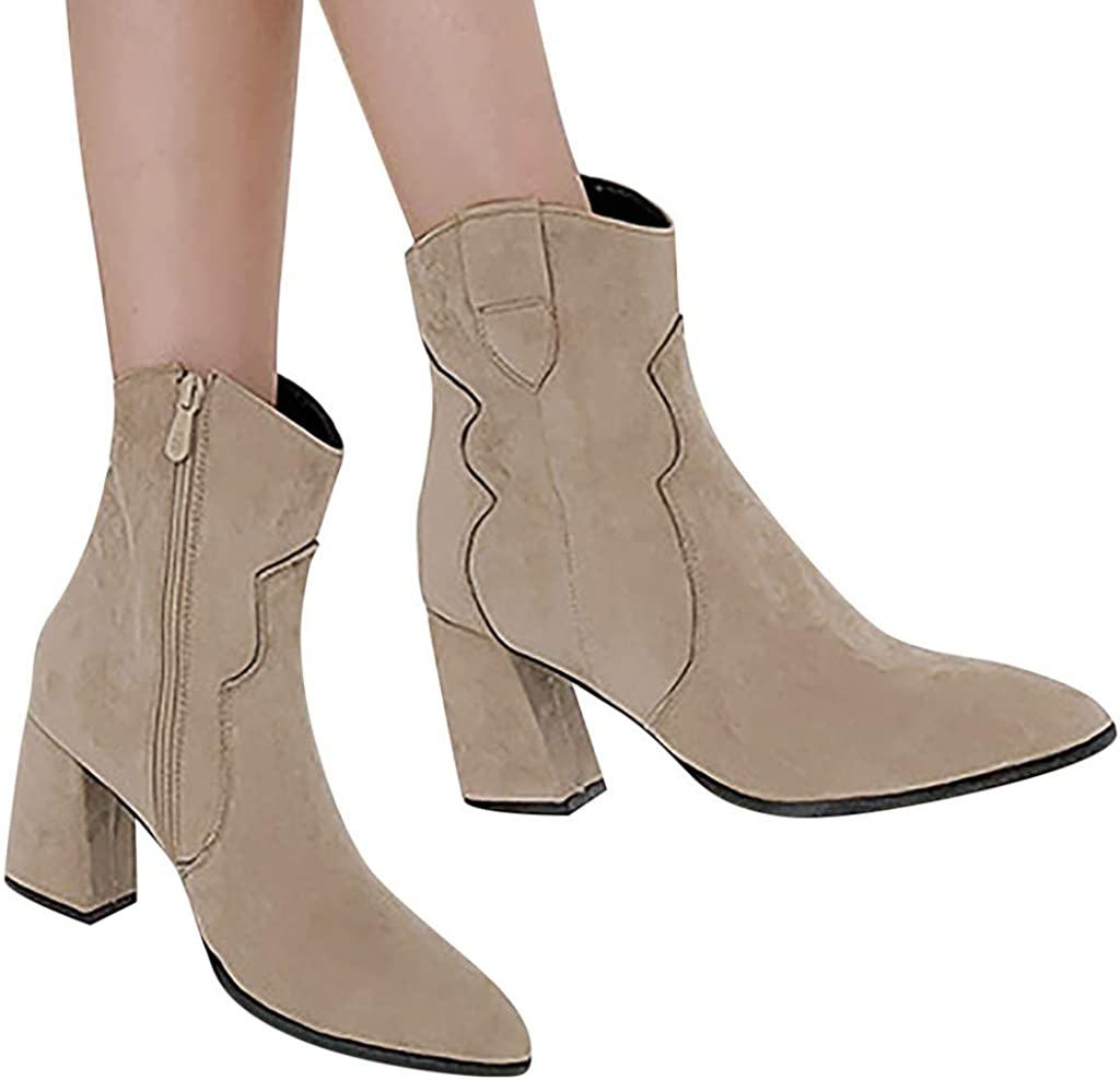 Whitegeese Women Flock Thick High Heel Zipper Single Boot Student Large Size Ankle Boots