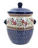 Polish Pottery Red Daisy Cookie Jar