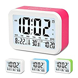 Digital Alarm Clock, Xmstar Electronic Talking Alarm Clocks 3 Alarms for Heavy Sleepers,Gift for Kids and Teens , 4.5'' Big Display,Temperature,Noctilucent and 5 Minutes Snooze Function-Red