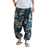 #5: Niaona Men Casual Loose Chinese Style Linen Print Wide Leg Hippie Baggy Harem Pants
